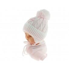 Czapeczka zimowa niemowlęca 42-46 różowa